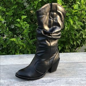 Black Cowboy Mid Calf Faux Leather Boot